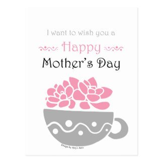 Postal Flor feliz del rosa del día de madre
