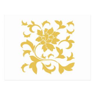 Postal Flor oriental - amarillo de la mostaza