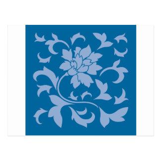 Postal Flor oriental - azul de la serenidad y azul del