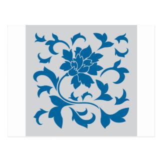 Postal Flor oriental - azul y plata del tubo respirador