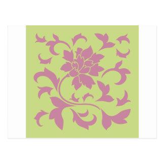 Postal Flor oriental - cal verde de la fresa y del