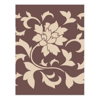 Postal Flor oriental - chocolate de Latte del café