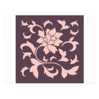 Postal Flor oriental - chocolate del cuarzo color de rosa