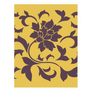 Postal Flor oriental - chocolate y mostaza de la cereza