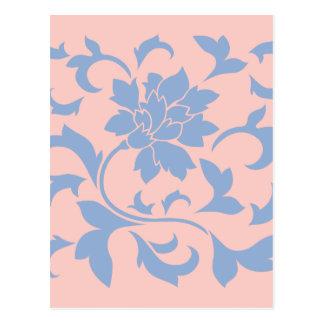 Postal Flor oriental - cuarzo azul y color de rosa de la