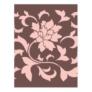 Postal Flor oriental - cuarzo color de rosa y chocolate