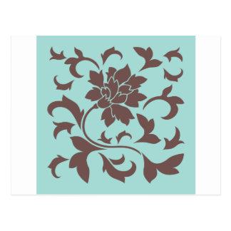 Postal Flor oriental - lapa Shell del chocolate