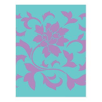 Postal Flor oriental - menta de la lila
