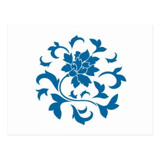 Postal Flor oriental - modelo circular azul del tubo