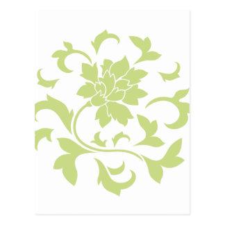 Postal Flor oriental - modelo circular verde del daiquirí