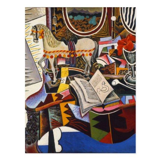 Postal Flor roja del tubo del caballo de Joan Miro