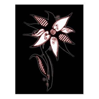 Postal Flor roja y blanca negra de Swirly de Naomi