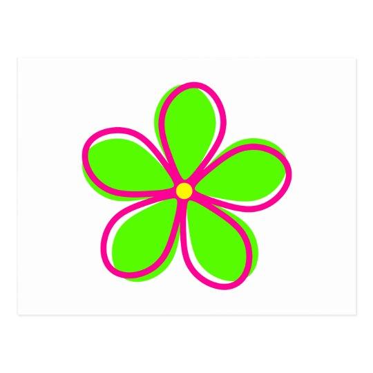 Postal Flor verde retra