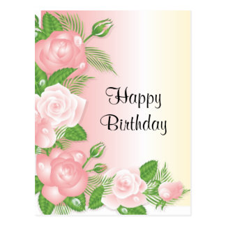 Postal floral de los rosas rosados dulces del feli