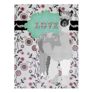 Postal floral del amor de la alpaca