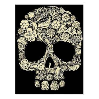 Postal floral del cráneo del azúcar del vintage