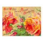Postal floral del cumpleaños del vintage