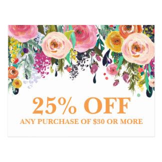 Postal floral pintada de las promociones del