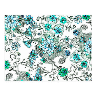 Postal Floral pintado a mano de la acuarela del trullo de