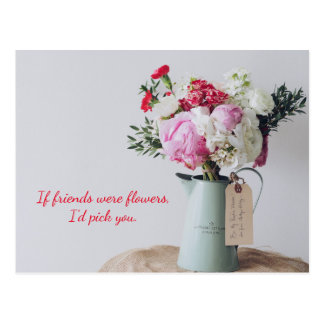 Postal Postal floral rosada del surtido