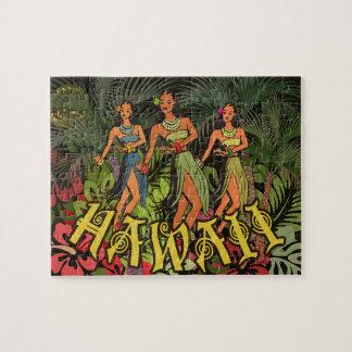 Postal floral tropical de la impresión del arte de puzzle