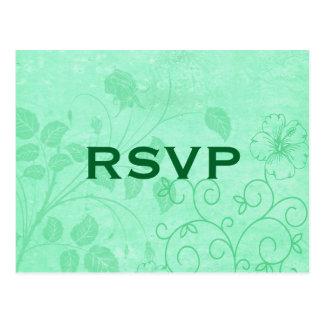 Postal floral verde de RSVP del remolino