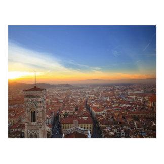 Postal Florencia Italia en la puesta del sol