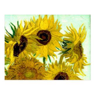 Postal Florero con doce girasoles, bella arte de Van Gogh