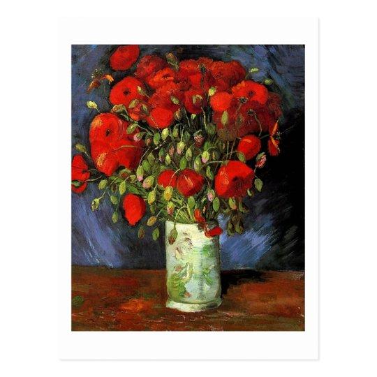 Postal Florero con las amapolas rojas, Vincent van Gogh