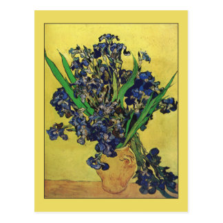 Postal Florero con los iris de Van Gogh