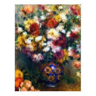 Postal Florero de bella arte de los crisantemos por