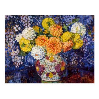 Postal Florero de flores de Theo van Rysselberghe