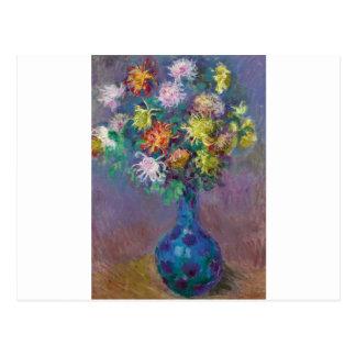 Postal Florero de los crisantemos Claude Monet