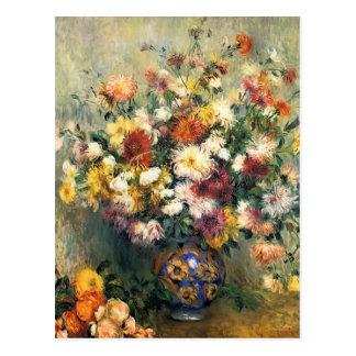 Postal Florero de Pedro-Auguste Renoir- de crisantemos