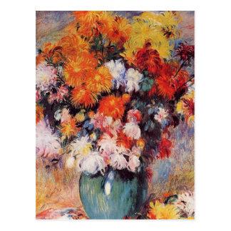 Postal Florero de Pedro Auguste Renoir de crisantemos