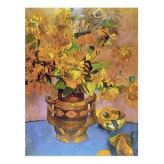 Postal flores amarillas de Tahití, flores de Paul Gauguin