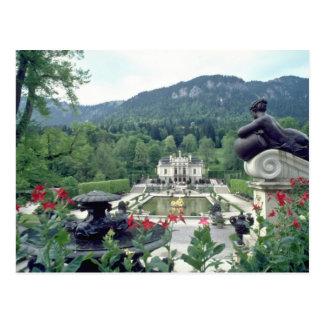 Postal Flores blancas de Linderhof del castillo