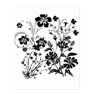 Postal Flores blancos y negros