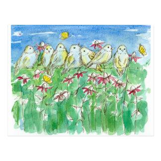 Postal Flores de la acuarela de Coneflower de las