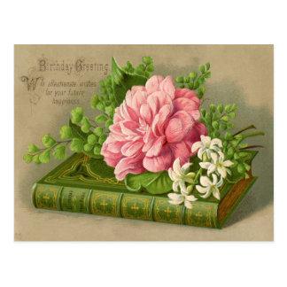 Postal Flores del cumpleaños del vintage