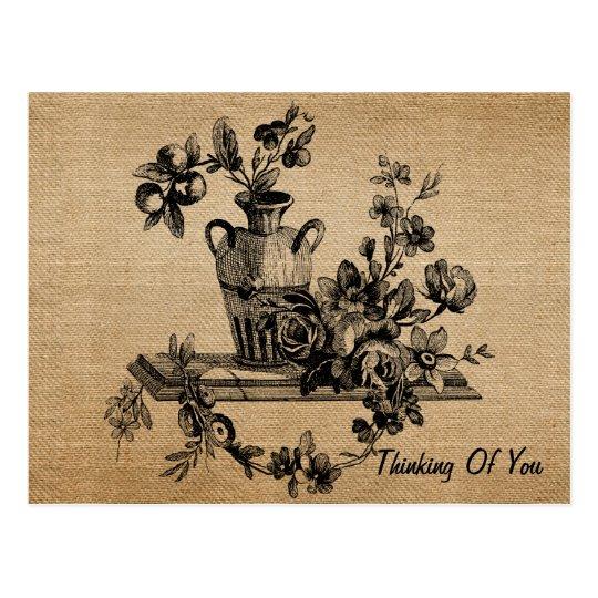 Postal Flores del vintage de la arpillera en el florero