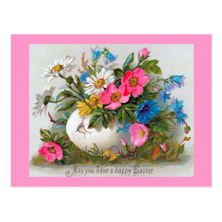 Postal Flores del vintage del ramo de Pascua