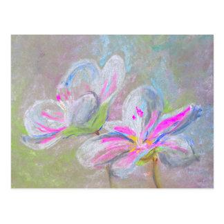 Postal Flores en colores pastel