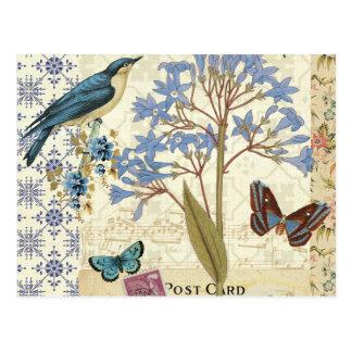 Postal Flores, mariposas, y collage del pájaro