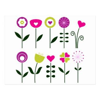 Postal Flores populares de lujo en blanco