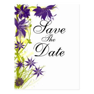 Postal Flores púrpuras de la isla que casan reserva la