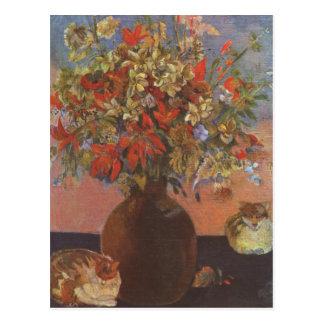 Postal Flores y gatos - Paul Gauguin