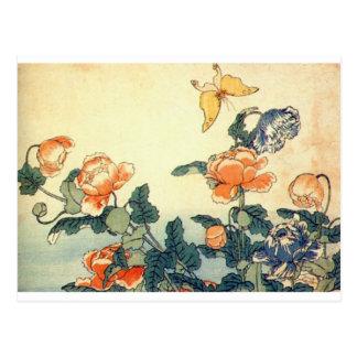 Postal Flores y una mariposa