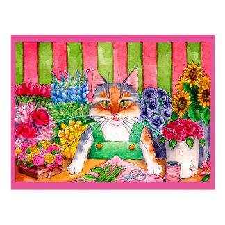 Postal Floristería linda del arte del gato