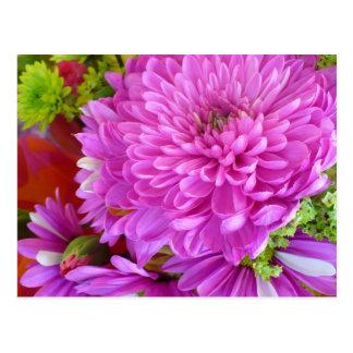 Postal Flower power rosado